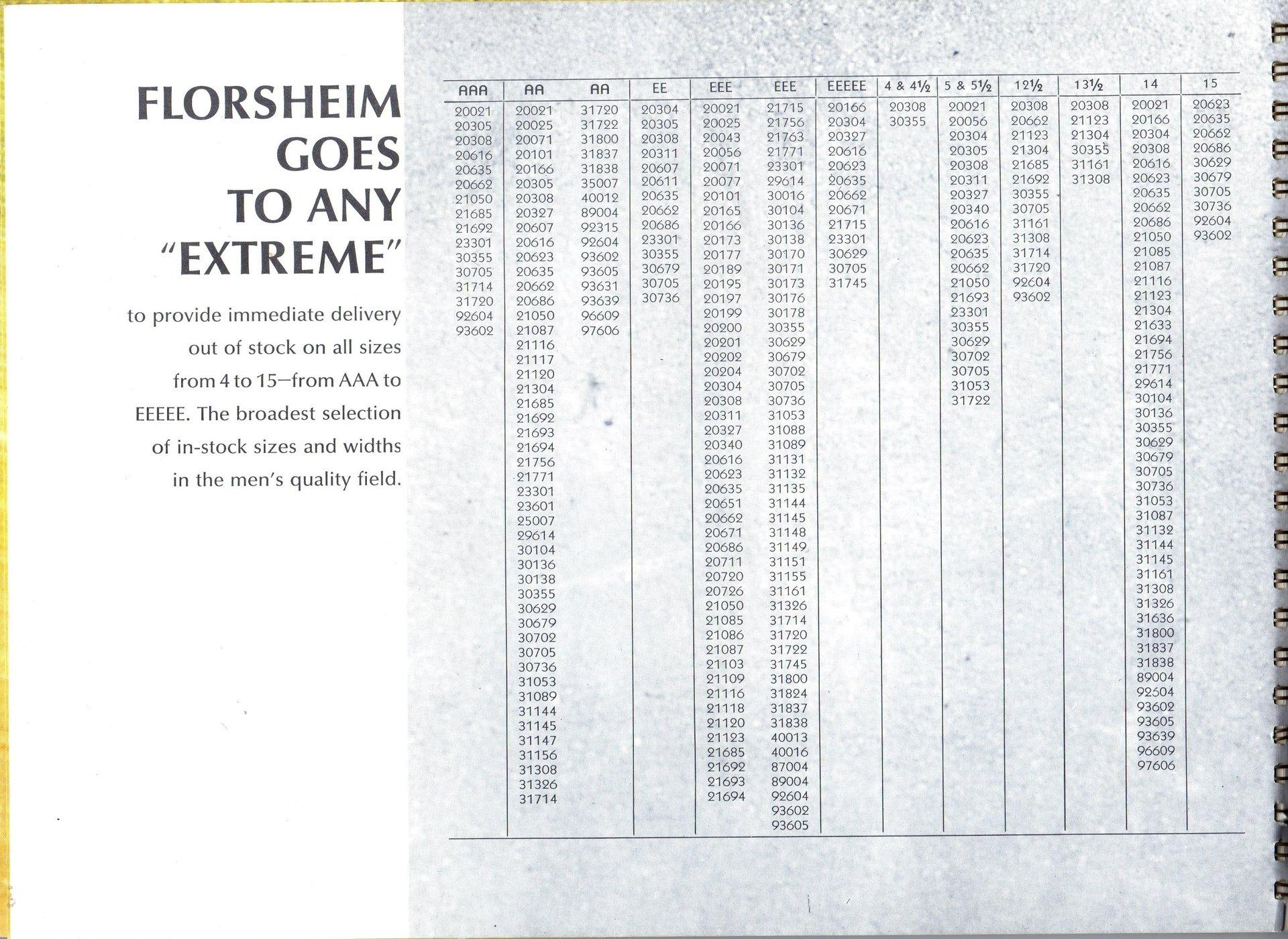 Florsheim extreme sizes