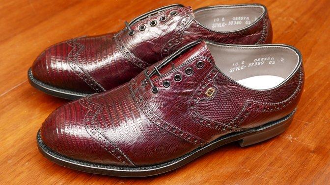 FootJoy purple lizard skin golf shoes