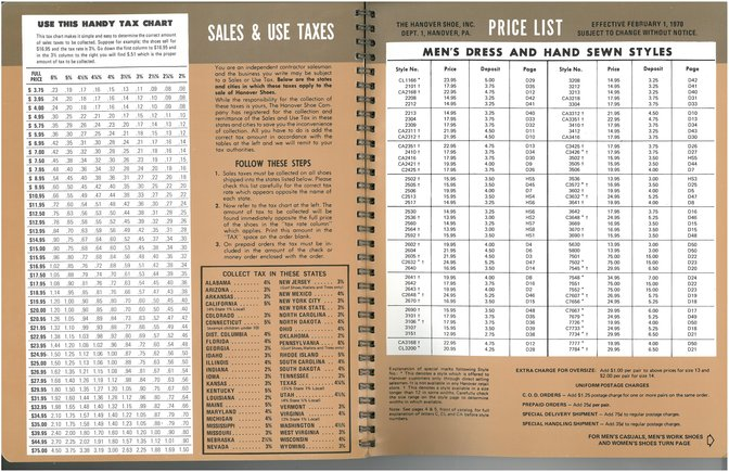 Hanover Shoes Price List