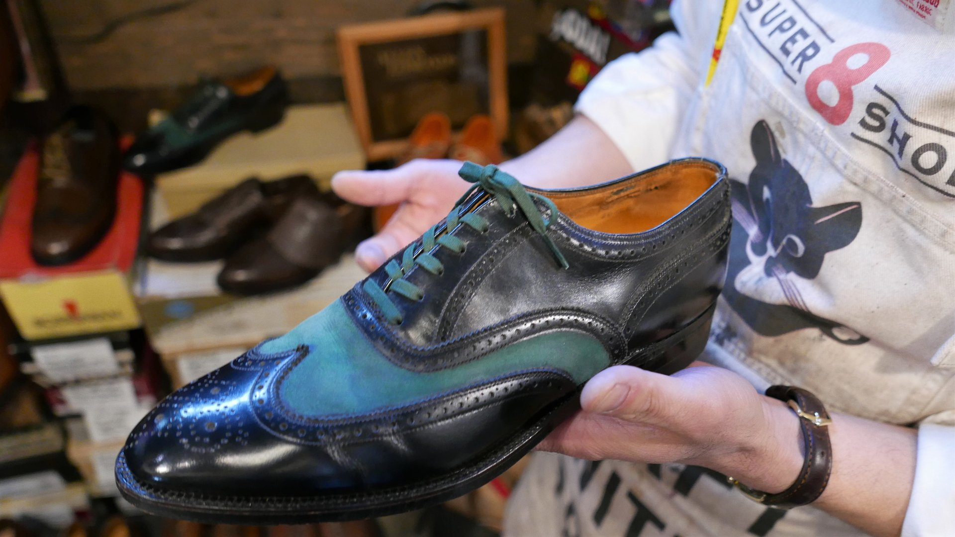 Repaired vintage shoes